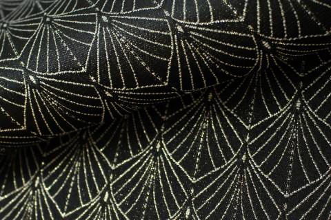 novely® JACQUARD 02G Glitzerfaden FÄCHER Polyester-Stoff I Schwarz Gold