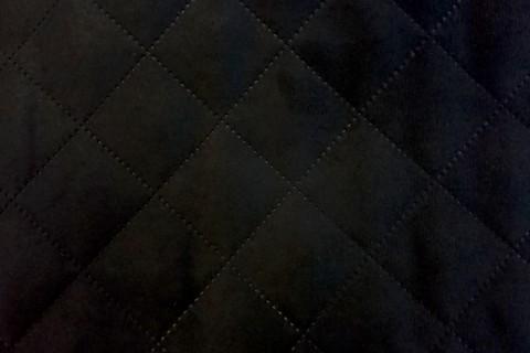 novely® ALPEN GESTEPPT | Microfaser in Wildleder-Look | Velours | Raute 5x5 cm | Schwarz