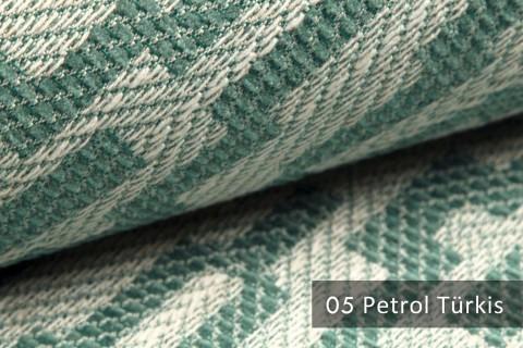 novely® exquisit ATTRACTO - Polsterstoff mit Atztekenmuster, Leinenstruktur, schwer entflammbar | 05 Petrol Türkis
