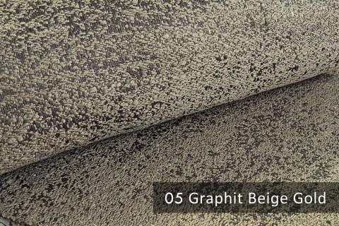 novely® exquisit BRIVIO – prunkvoller und eleganter Möbelstoff  | 05 Graphit Beige Gold