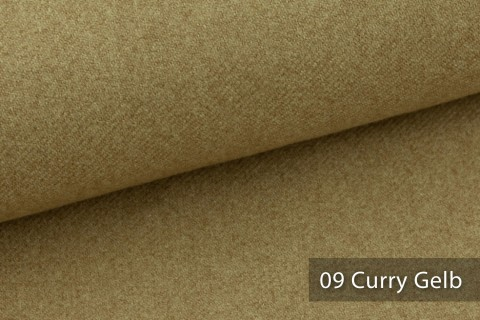 novely® exquisit CALMI Stoff Woll-Optik meliert | Polsterstoff schwer entflammbar | 09 Curry Gelb