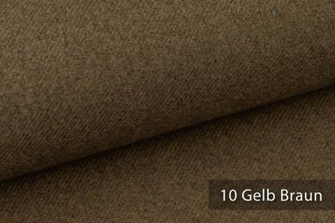 novely® exquisit CALMI Stoff Woll-Optik meliert | Polsterstoff schwer entflammbar | 10 Gelb Braun