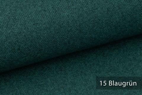 novely® exquisit CALMI Stoff Woll-Optik meliert | Polsterstoff schwer entflammbar | 15 Blaugrün