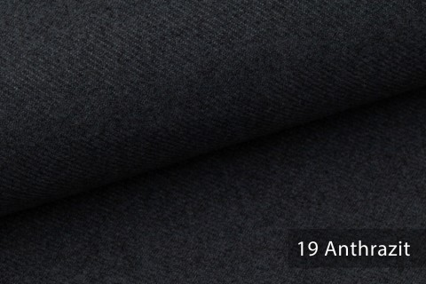 novely® exquisit CALMI Stoff Woll-Optik meliert   Polsterstoff schwer entflammbar   19 Anthrazit