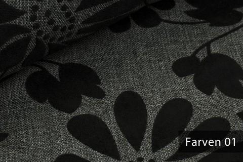 novely® FARVEN melierter Möbelstoff mit geflocktem Blumenmuster Polsterstoff | 01 Graphit Grau