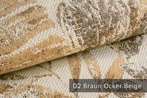 novely® exquisit FLORENZ – geschmackvoller, blumiger Polsterstoff | 02 Braun Ocker Beige