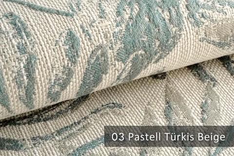 novely® exquisit FLORENZ – geschmackvoller, blumiger Polsterstoff | 03 Pastell Türkis Beige
