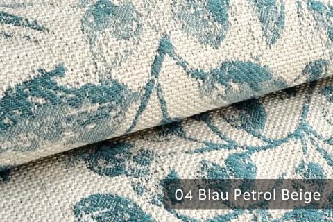 novely® exquisit FLORENZ – geschmackvoller, blumiger Polsterstoff | 04 Blau Petrol Beige