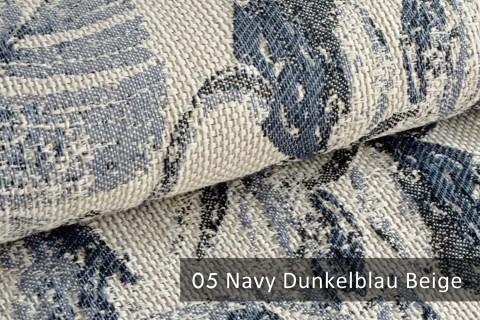 novely® exquisit FLORENZ – geschmackvoller, blumiger Polsterstoff | 05 Navy Dunkelblau Beige