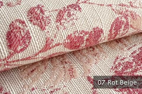 novely® exquisit FLORENZ – geschmackvoller, blumiger Polsterstoff | 07 Rot Beige