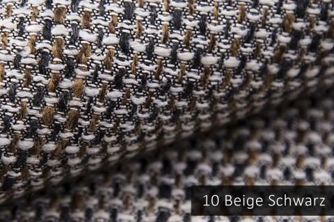 novely® LANZ Möbelstoff | Strukturstoff | Farbe 10 Beige Schwarz