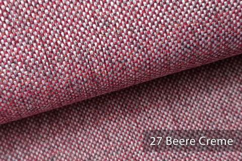 novely® LARISO | Polsterstoff | Möbelstoff | Webstoff | Struktur-Stoff | Mélange | natürlicher Look in 20 Farben | 27 Beere Creme