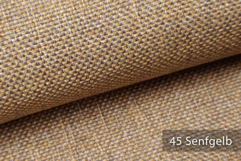 novely® LARISO | Polsterstoff | Möbelstoff | Webstoff | Struktur-Stoff | Mélange | natürlicher Look in 20 Farben | 45 Senfgelb