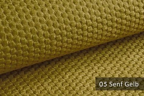 novely® MAKAO – moderner und kuscheliger Möbelstoff mit Wabenmuster, ultraweich | 05 Senf Gelb
