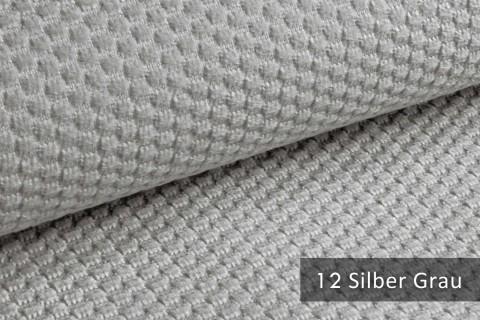 novely® MAKAO – moderner und kuscheliger Möbelstoff mit Wabenmuster, ultraweich | 12 Silber Grau