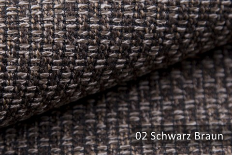 novely® MALBORN – Exklusiver, grob gewebter Möbelstoff | 02 Schwarz Braun