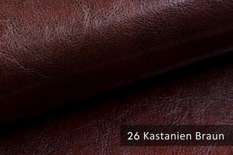 novely® MARGOTH – Glattes glänzendes Kunstleder im Antik-Look | 26 Kastanien-Braun