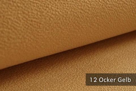 novely® exquisit MILANO - ultraweicher Polsterstoff in Echtleder-Optik, schwer entflammbar | 12 Ocker Gelb