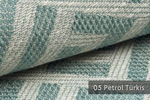 novely® exquisit MISINTO - Design-Polsterstoff mit Leinenstruktur, schwer entflammbar | 05 Petrol Türkis