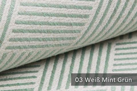 novely® exquisit MODENA - Möbelstoff mit Leinen, geometrisches Muster, schwer entflammbar | 03 Creme Mint-Grün