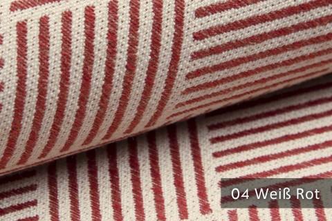 novely® exquisit MODENA - Möbelstoff mit Leinen, geometrisches Muster, schwer entflammbar | 04 Creme Rot