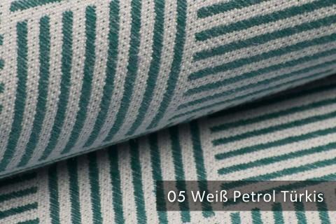 novely® exquisit MODENA - Möbelstoff mit Leinen, geometrisches Muster, schwer entflammbar | 05 Creme Petrol-Türkis