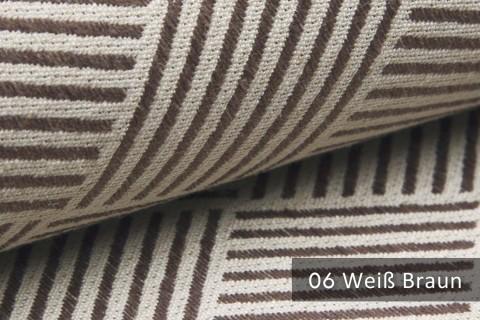 novely® exquisit MODENA - Möbelstoff mit Leinen, geometrisches Muster, schwer entflammbar | 06 Creme Braun
