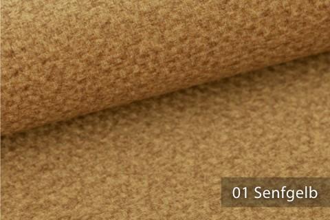 novely® NASSAU – Samtweicher Polsterstoff mit Wabenstruktur in Woll-Optik | 01 Senfgelb