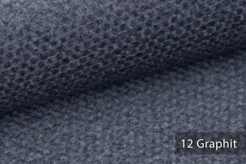 novely® NASSAU – Samtweicher Polsterstoff mit Wabenstruktur in Woll-Optik | 12 Graphit