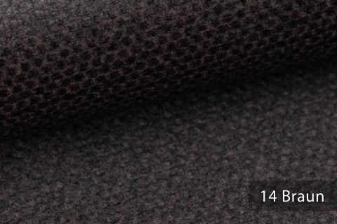 novely® NASSAU – Samtweicher Polsterstoff mit Wabenstruktur in Woll-Optik | 14 Braun