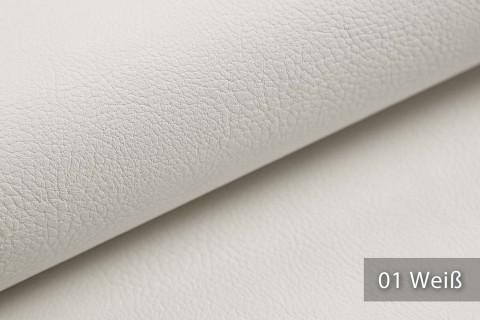 novely® NEUSS - genarbtes Kunstleder matt Möbelstoff Bezugsstoff Polsterstoff PU | Farbe 01 Weiß