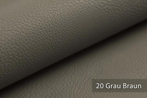 novely® NEUSS - genarbtes Kunstleder matt Möbelstoff Bezugsstoff Polsterstoff PU | Farbe 20 Grau Braun