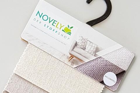novely® exquisit DECORETTO - weicher Polsterstoff in Naturfaserlook mit ULTRA-CLEAN Technologie, schwer entflammbar | Muster-Farbfächer