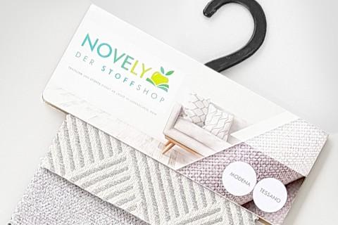 novely® exquisit MODENA TESSANO - Möbelstoff mit Leinen, geometrisches Muster, schwer entflammbar | Muster-Farbfächer