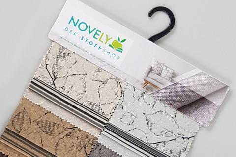 novely® MALCHIN GRACE und SEAN | flauschiger Polsterstoff mit Blätter-Druck bzw. Streifen im Leinenlook | Muster-Farbfächer