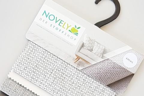 novely® KREMS melierter grob gewebter Polsterstoff | Muster-Farbfächer
