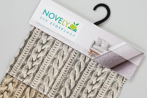 novely® HANAU KURT Polsterstoff  Aufdruck Strick Wolle Zopfmuster | Muster-Farbfächer