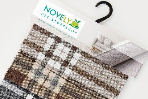 novely® LONDON British Style | Karierter Möbelstoff Polsterstoff Meterware | Muster-Fächer