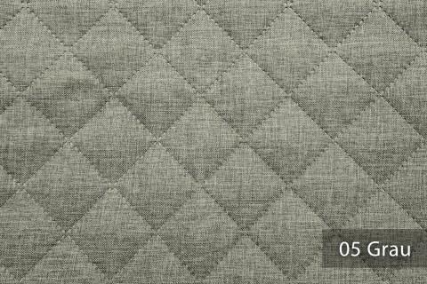 novely® LUSO Webstoff | 3-LAGIG gesteppt kaschiert | Volumen Polsterstoff | KARO RAUTE 5x5cm 05 Grau