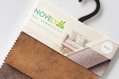 novely® MALOU Möbelstoff, samtweicher Velours in Vintage-Leder-Optik | Muster-Farbfächer