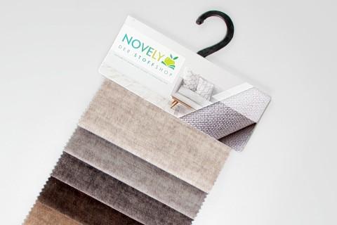 novely® MARLOW Möbelstoff, Velours, samtig weicher Polsterstoff | Muster-Farbfächer