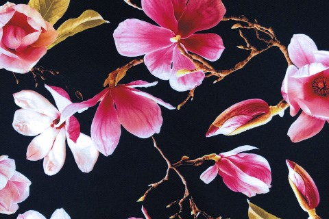 novely® OXFORD 210D Outdoor Print Stoff | Rosa Magnolien