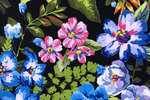 novely® OXFORD 210D Outdoor Print Stoff | Painted Flowers By Night