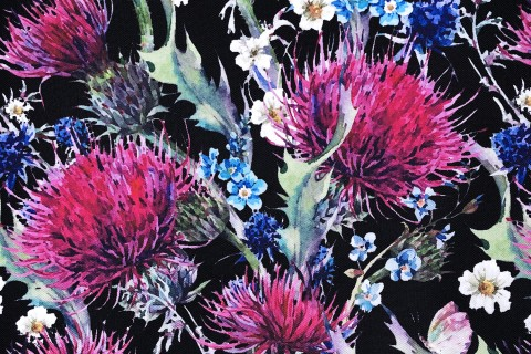 novely® OXFORD 210D Outdoor Print Stoff | Thistle Black