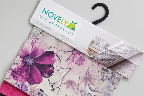 novely® PASSAU PABLO | samtig weicher Chenille Möbelstoff mit Blumen Print | Muster-Farbfächer