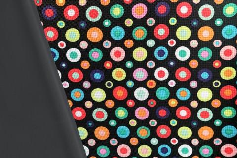 novely® OXFORD 600D Polyester Stoff PVC Segeltuch   D10 Bunte Punkte und Kreise