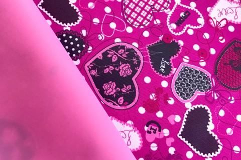 novely® OXFORD 600D Polyester Stoff PVC Segeltuch | D5 Herzen Pink Rosa Schwarz