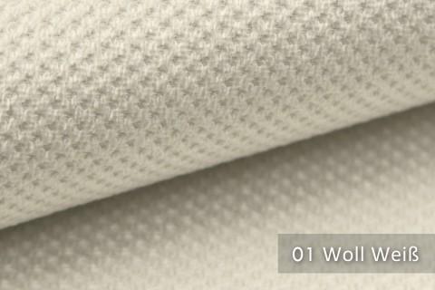 novely® PIROW weicher und zeitloser Polsterstoff | Möbelstoff – feine Textur | 01 Woll Weiß