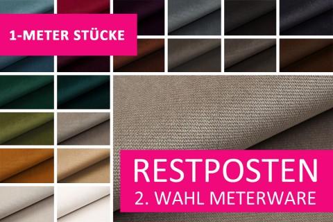novely® Restposten | 2. Wahl | B-WARE | PASSAU samtig weicher Chenille Möbelstoff | 1 METER - STÜCK