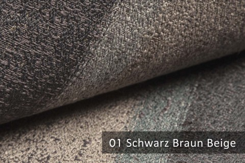 novely® exquisit RIMINI – prunkvoller und eleganter Möbelstoff  | 01 Schwarz Braun Beige